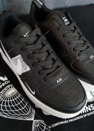 Кроссовки nike air force черные с белой подошвой