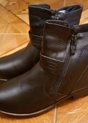 Кожаные зимние полусапоги ботинки напівчоботи черевики кожа шк...