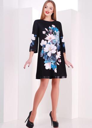 Красивое платье плаття сукня трапеция цветочный квітковий прин...