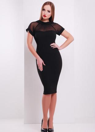 Приталенное универсальное платье плаття сукня декольте сеточка...
