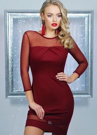 Коктейльное нарядное платье плаття на вечеринку рукава сеточка...