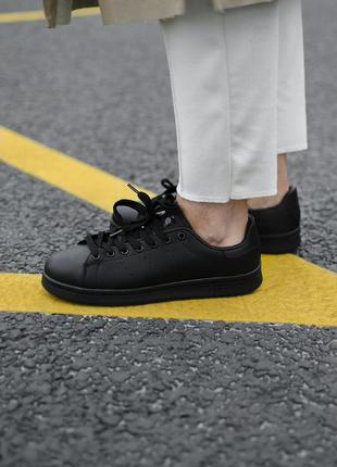 Кроссовки adidas stan smith black lather