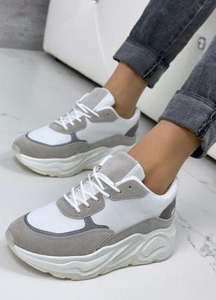 Женские кроссовки на платформе,бело-серые кроссовки на высокой...