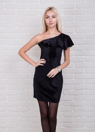 Велюровое бархатное платье плаття с бусинами на одно плечо окс...