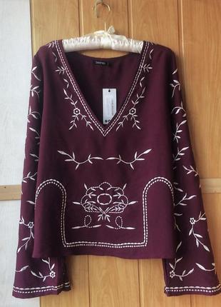Блуза з вишивкою  boohoo винного кольору, р.14(eur 42)