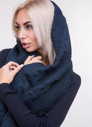 Теплый вязаный теплий в'язаний практичный шарф хомут снуд моде...