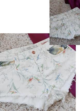 Стильные короткие джинсовые шорты в принт,zara,  p. 34-36