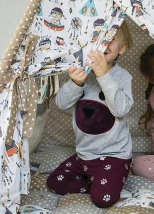 Милая мягкая детская пижама домашний комплект одежда для дома ...