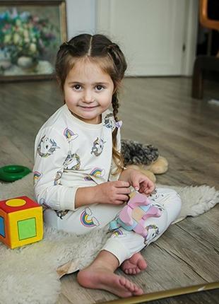 Милая мягкая детская пижама домашний комплект для дома с принт...
