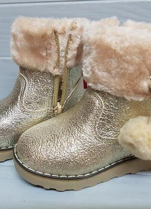 Легкие прошитые золотые зимние сапоги ботинки зимові чоботи че...