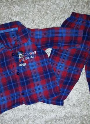 Пижама в клетку с мики маусом для сна