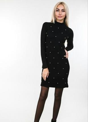 Теплое модное облегающее нарядное платье-гольф сукня в рубчик ...