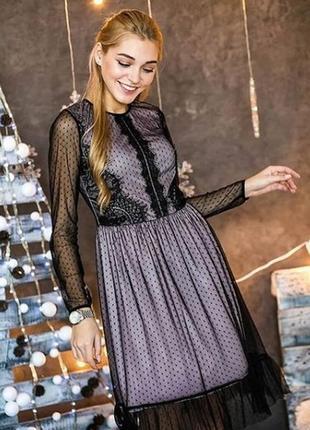 Нежное нарядное вечернее фатиновое платье сукня плаття с кружевом