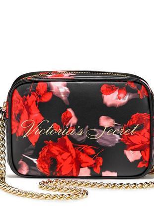 Красивая черная сумочка кроссбоди victoria's secret с красными...