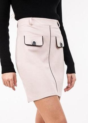 Элегантная юбка спідниця трапеция а-силуэта под замшу цвета р.s-l