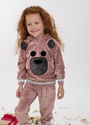 Милый велюровый барханый комплект костюм с мишкой для малышей ...