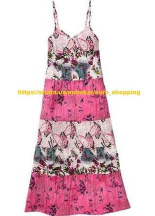 Платье сарафан макси в пол с цветочным принтом натуральное хло...