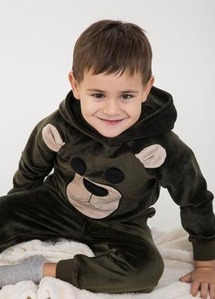 Милый мягкий велюровый барханый комплект костюм с мишкой для м...