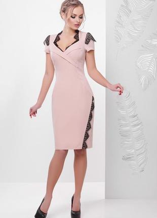 Красивое нежное приталенное платье сукня плаття миди футляр с ...