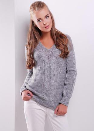 Нежный вязаный свитер джемпер кофта полушерсть напіввовна цвет...