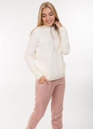 Плюшевая теплая пижама домашний комплект кофта и штаны цвета р...