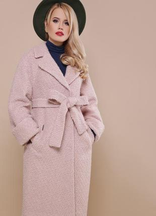 Длинное довге теплое тепле деми шерстяное пальто цвета р.46-56