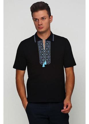 Вышитая футболка поло с вышивкой цвета р.s-xl