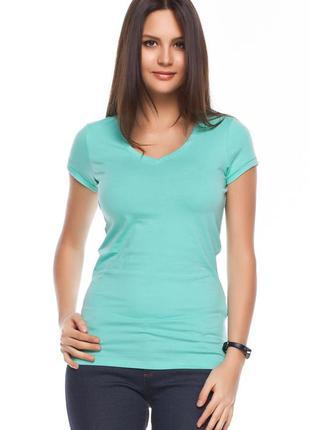 Женская футболка голубая de facto / де факто с v-образным вырезом