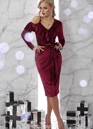 Нарядное вечернее бархатное велюровое платье