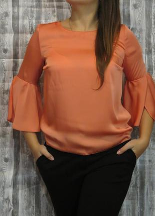 Нарядная блуза с длинным рукавом кораллового цвета размер 46-48