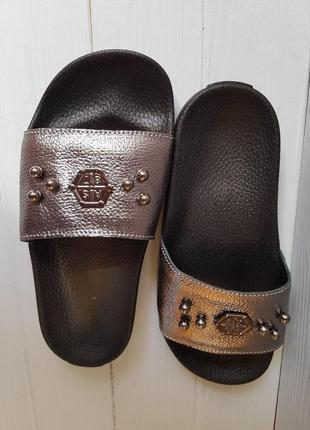Женские кожаные модные стильные шлепки шлепанцы наложка обмен ...