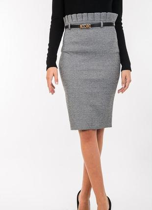 Строгая юбка-карандаш с оборками в талии ділова спідниця в офіс