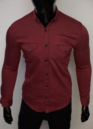 Рубашка мужская джинсовая figo 17093 цвета в ассортименте