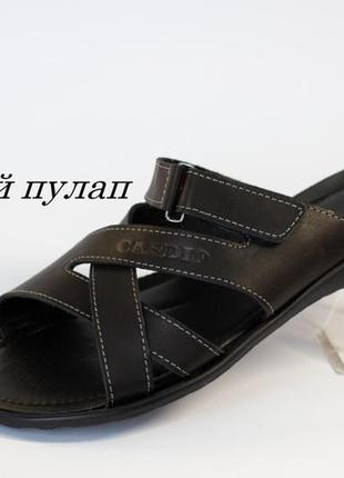 Кожаные мужские сандалии шлепки