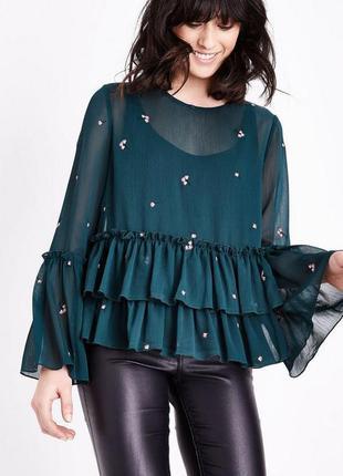 Блузка сетка изумрудного цвета с вышивкой от new look