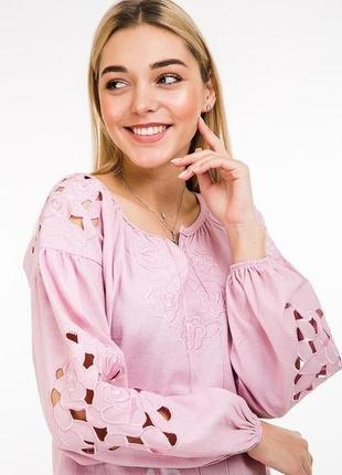 Современная вышиванка блузка с вышивкой гладью в тон сорочка з...