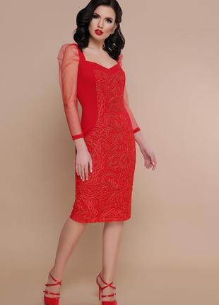 Коктейльное нарядное платье сукня миди с рукавами сеточкой