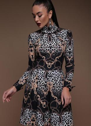 Трендовое леопардовое платье с пышной юбкой