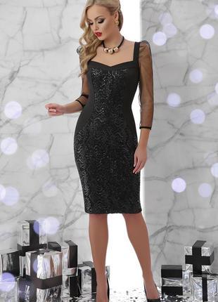 Коктейльное нарядное платье сукня миди с пайетками и рукавами ...