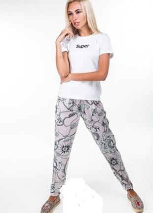 Легкий комплект костюм котоновая футболка и шелковые свободные...