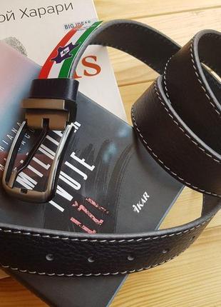 Мужской кожаный ремень из итальянской кожи с белой строчкой