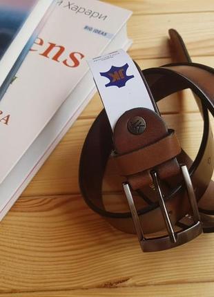 Мужской кожаный ремень из итальянской кожи с затемненными краями