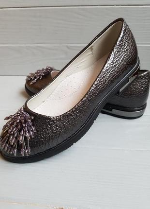 Серебряные лаковые туфли балетки с бисером и кожаной стелькой ...