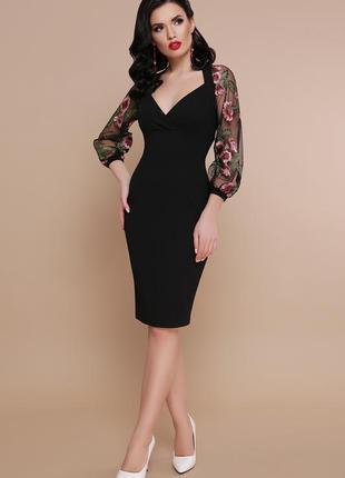 Нарядное вечернее платье сукня плаття футляр с декольте и выши...