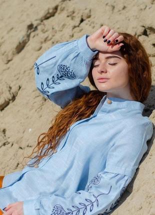 Льняная вышитая блуза сорочка рубашка вишиванка вышиванка