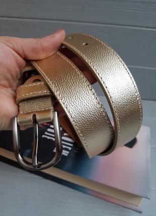 Золотой кожаный ремень из итальянской кожи