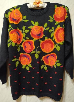 Скидка!!!🔥распродажа 🔥шикарный свитер с розами*свитер*с вышивк...