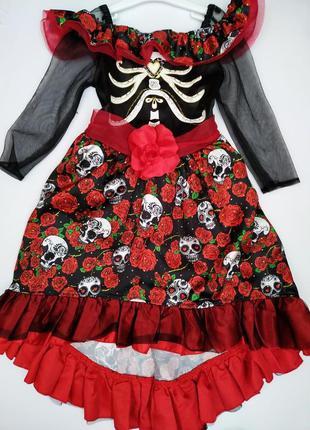Платье с черепами на хэллоуин на девочку 5-6 лет*карнавальное ...