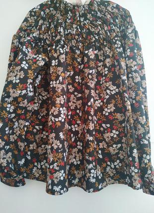 Блузка в цветочный принт с пышным рукавом*блуза*блузка