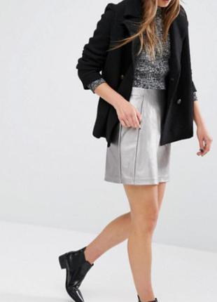 Юбка серебристая*короткая юбка*юбка с карманами*кожаная юбка*юбка